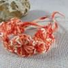 Bracelet de cheville bohème textile en coton orange crocheté
