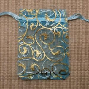 Sachets organza bleu vigne doré 9cmx7cm – lot de 10 sac tissu