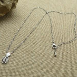 Collier Ananas argenté acier inoxydable bijoux femme minimaliste