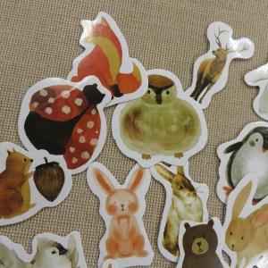 étiquettes renard autocollant lapin scrapbooking stickers animaux forêt / 23pcs