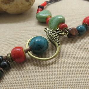 Bohème collier oiseau et perle céramique pour femme – cadeaux pour maman