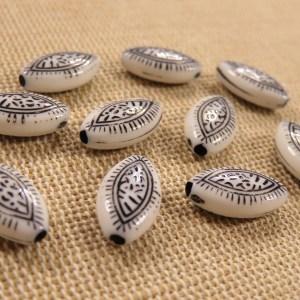 Perles marquise feuillage 14mmx8mm en acrylique – lot de 10
