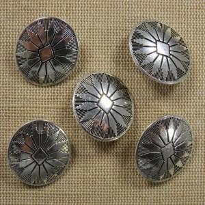 Boutons ovale argenté bouclier en métal – lot de 4