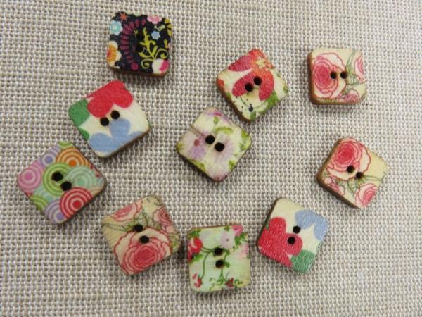 Boutons carré 13mm en bois fleuri bouton de couture - lot de 10