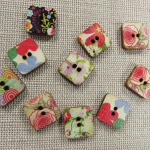 Boutons carré 13mm en bois fleuri bouton de couture – lot de 10