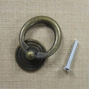 Poignée anneau de tiroir bronze meuble style rétro