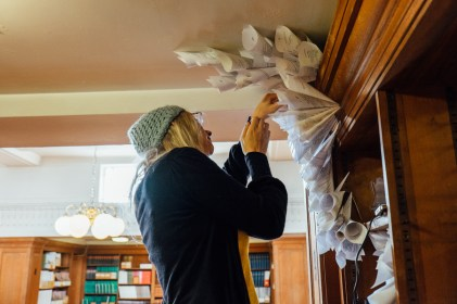 Anna Berry installing at the Land Economy Library