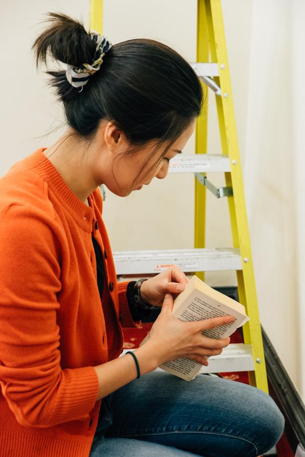 Samantha Huang installing at Waterstones