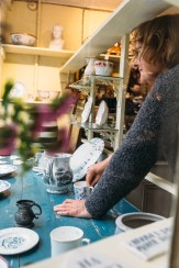 Jane Waterhouse installing at Gabor Cossa Antiques