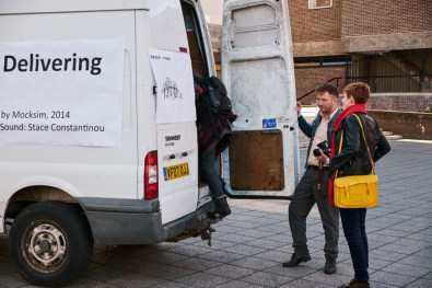 Mocksim's delivery van at the CU Sidgwick Site
