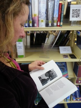 Rebecca Ilett browses work by Sara Wood