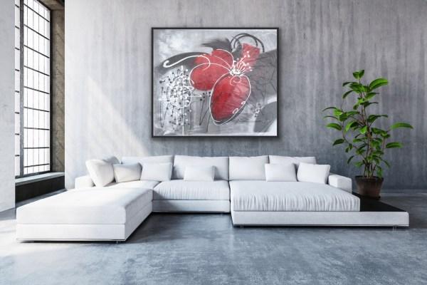 black white red modern painting