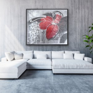 black white red modern painting