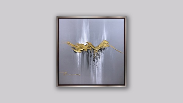 abstract painting gold grey