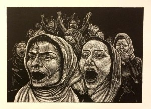 "Darcy Edwin Martyred: ""The Daughters of Afghanistan Woodcut"""