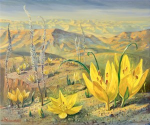 Blooming of Sternbergia Clusiana in Judean Desert, Painting by Alex Levin