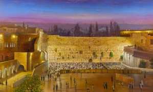 Friday night at the Kotel, Painting by Alex Levin