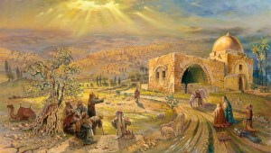 Pilgrims by the Rachel's Tomb, Painting by Alex Levin