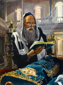 Praying with Torah, Painting by Alex Levin