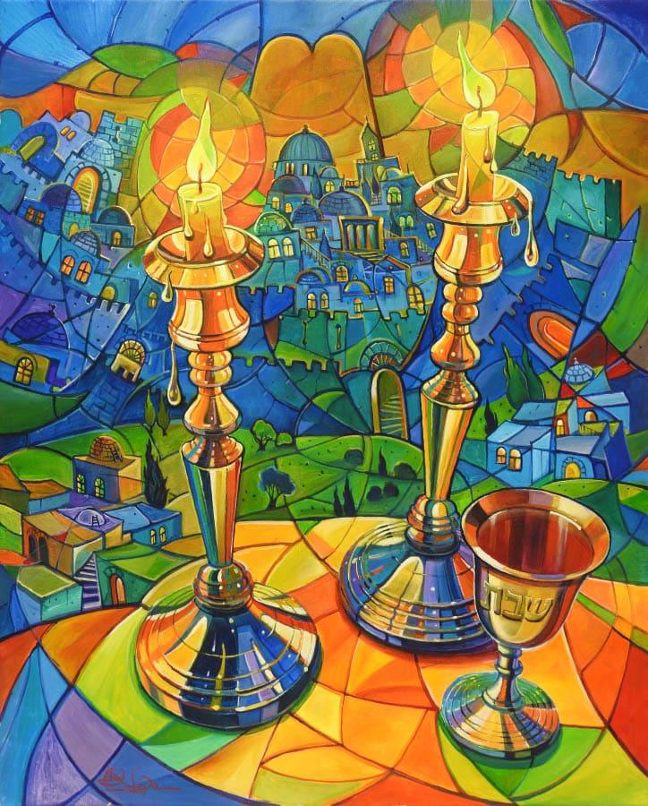 original oil painting shabbat in jerusalem alex levin