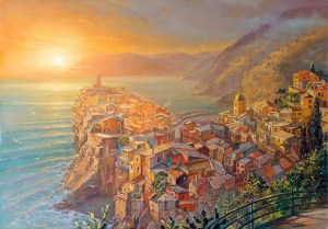 Sunset in magical Vernazza Italy, Painting by Alex Levin