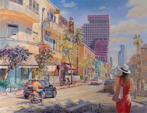 Tel Aviv always loves peace, Painting by Alex Levin