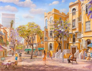 Love under the sky of Tel Aviv, Painting by Alex Levin