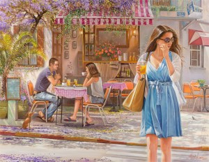 Romantic cafe on Shenkin Street, Painting by Alex Levin