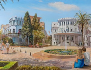 Blue Rhapsody on Bialik street, Tel Aviv, Painting by Alex Levin