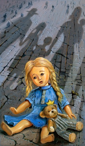 The story of the window and lonely toy from Poland, Painting by Alex Levin