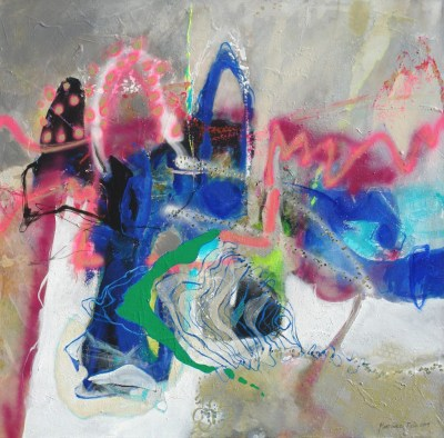 Colorful abstract painting of the famous burros of Tijuana