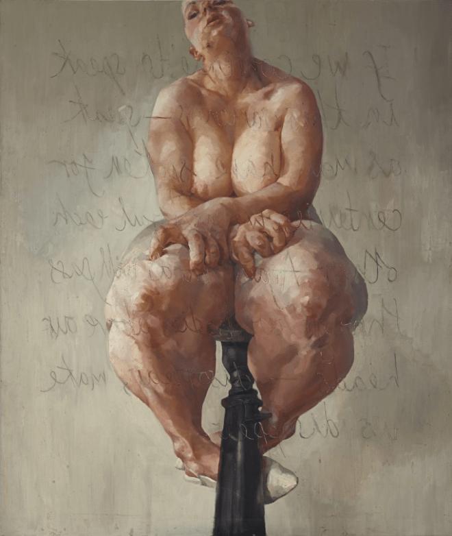 Jenny Saville's self-portrait in the nude.