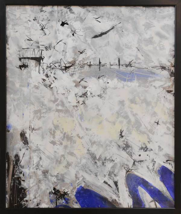 Mixed media fine art in white, blue and black