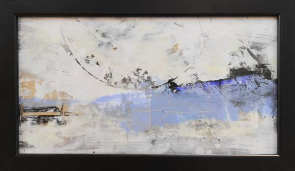 blue, black and white small abstract artwork