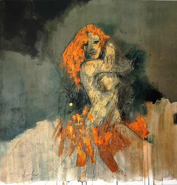 Original fine art painting titled Dancing on Fire by Libuse Wiesendanger