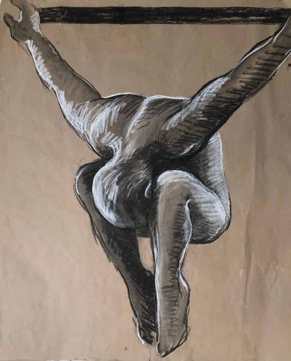 Charcoal and white chalk sketch on brown craft paper of man diving