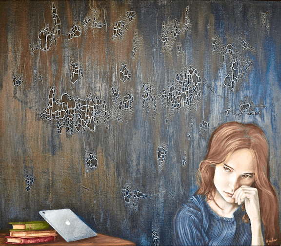 Painting of a girl quietly thinking