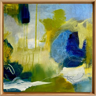 Blue, green and yellow abstract art.