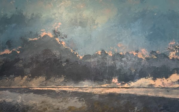 Oil painting on canvas of clouds in Todos Santos Mexico