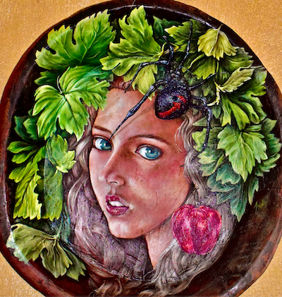 Wooden bowl painting featuring the goddess Eris