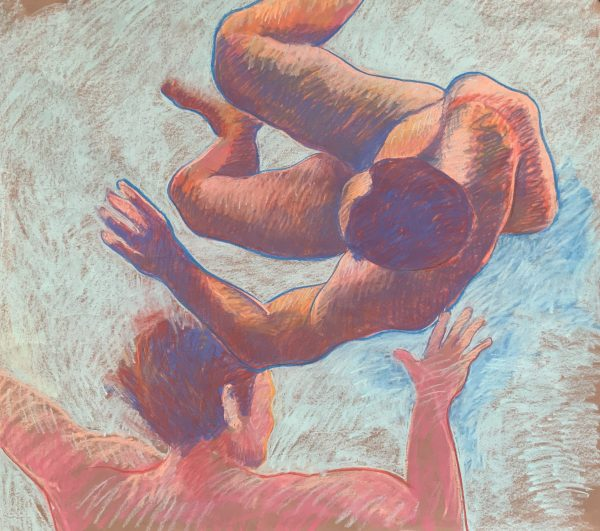Chalk sketch of two men floating underwater