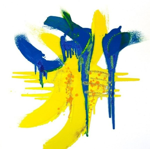 Abstract art in white, blue, yellow and green