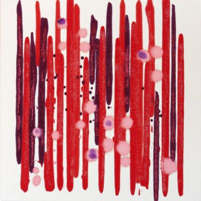 Abstract fine art in white red and pink