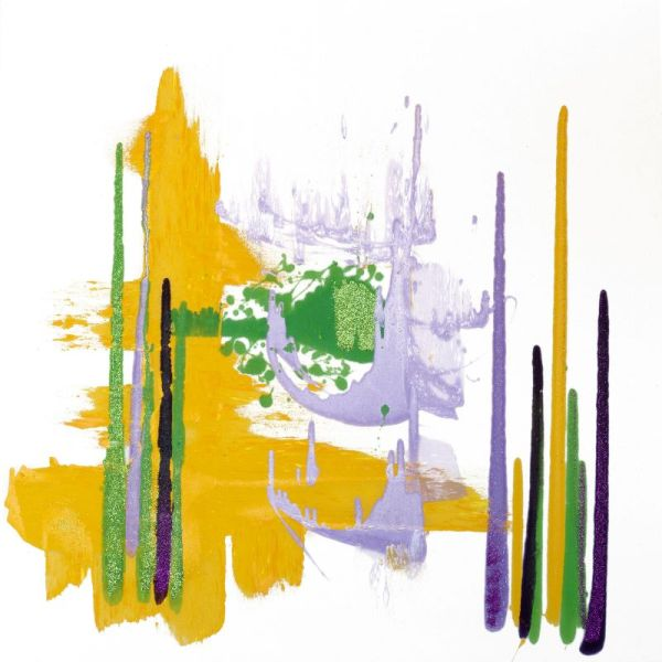 White, purple, green, yellow and lavender abstract fine art
