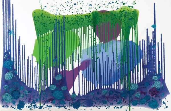 Abstract art in white, purple, lavender and green