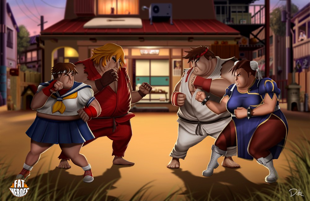 Fat Heroes Streetfighter by Carlos Dattoli