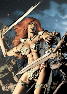 "Red Sonja #18 alternate cover (line art by Gene Ha). Interesting note: looking at the line art, there's no indication of where or what time of day this takes place. I asked Gene, and he said ""I have no idea."" So I made it outdoors at night by a fire under Mars and Venus."