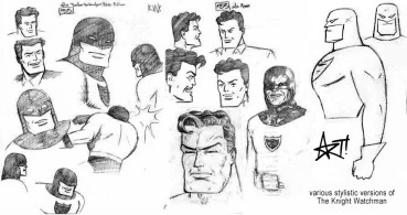 "Character design/style sheet for Big Bang Comics character ""The Knight Watchman"""