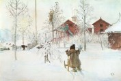 The yard and the washhouse (Brita whith the Sleigh) between 1890 and 1899, Stockholm, Nationalmuseum