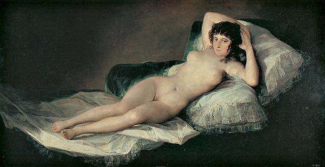 "Francisco Goya ""La maja desnuda"", 1800 circa. Madrid, Prado."